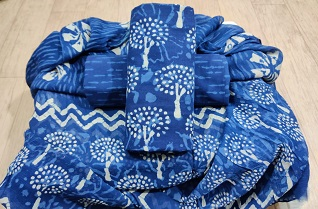 Handblock printed cotton suits with chiffon dupatta-Jaipur Wholesaler