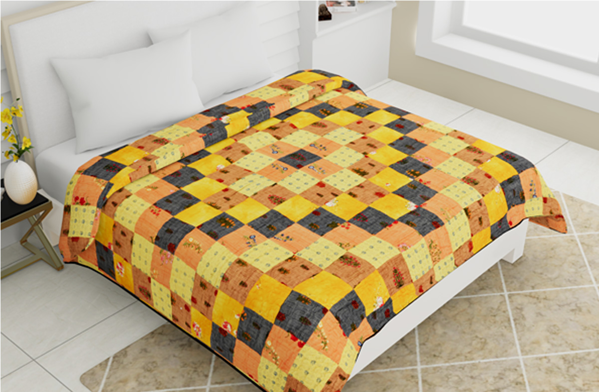 Quilted Bedcovers Multicolor 100x108-Jaipur Wholesaler