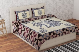 Best Quality Badmeri Multi Color Cotton Bedsheet 90X108-Jaipur Wholesaler