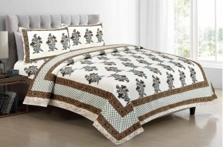 Jaipuri Multi Color Cotton Bedsheet 90X108-Jaipur Wholesaler