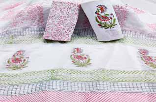 Handblock printed cotton suits with chiffon dupatta.-Jaipur Wholesaler