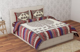 Best Badmeri Multi Color Cotton Bedsheet 90X108-Jaipur Wholesaler
