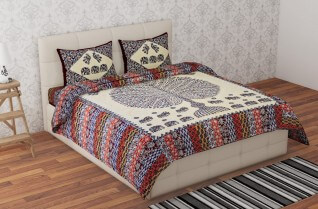 Badmeri Multi Color Cotton Bedsheet 90X108-Jaipur Wholesaler
